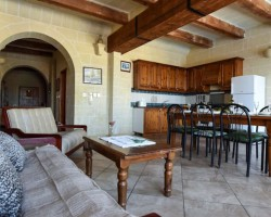 Kitchen and Lounge Area at Gizimina Farmhouse, Xaghra – Gozo